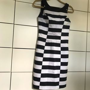 Black and White Striped Pattern Sheath Dress